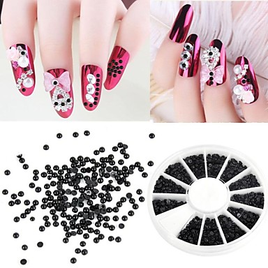 1200 Pcs 2mm Manicure Pearl Flat Semicircular Boxed Black Pearl Nail Art Decorations
