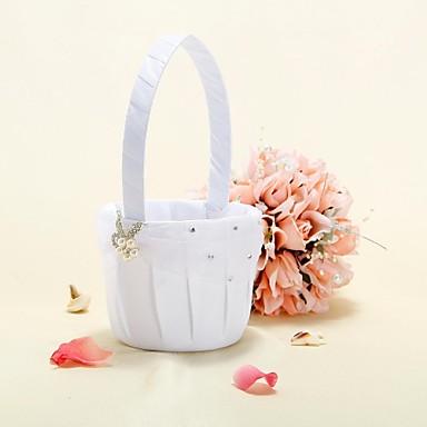 virágkosár fehér szatén faux gyöngy virág és strassz virág lány kosár
