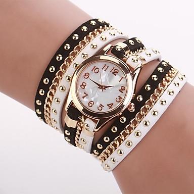 Kadın's Moda Saat Bilezik Saat Quartz PU Bant Siyah Beyaz