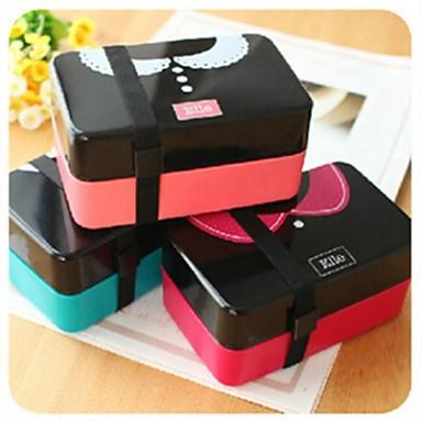 Τύπος ζευγάρι διπλό στρώμα κουτί γεύμα, πλαστικό 16,5 × 8,5 × 8,5 εκατοστά (6.5 × 3.3 × 3.3 ιντσών) τυχαία χρώμα