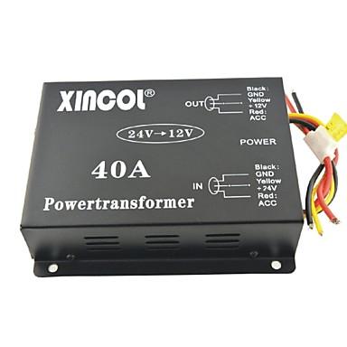 xincol® Fahrzeug Auto DC 24V bis 12V 40a Netztransformator Wandler mit Lüfterregelung schwarzen