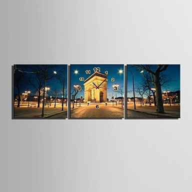 e-home® európai építészet esti órát vászon 3db