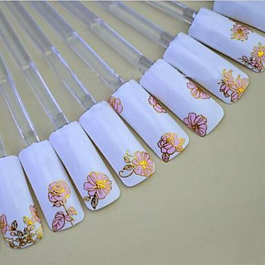 24pcs of Mixed Hot Pink Background Golden Nail Sticker Nail Art Nail Decorations