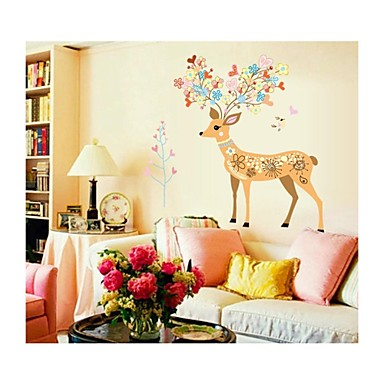 Wall Stickers Wall Decals, Style Cartoon Sika Deer PVC Wall Stickers