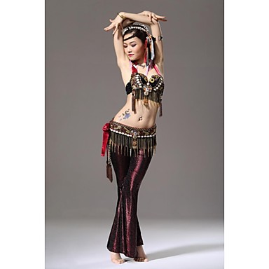 Belly Dance Outfits Women's Performance Sequined Silk Velvet Feathers Buttons Paillettes Sequins Dropped