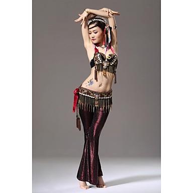 Χορός της κοιλιάς Σύνολα Γυναικεία Επίδοση Με Πούλιες Μετάξι Βελούδο Φτερά Χαμηλή Μέση