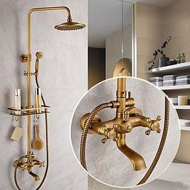 Slavina za tuš - Starinski Antique Brass Sustav za tuširanje Keramičke ventila Bath Shower Mixer Taps / Dvije ručke pet rupa