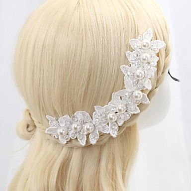 Women's Flower Girl's Lace Crystal Imitation Pearl Headpiece-Wedding Special Occasion Flowers