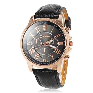 Dames Modieus horloge Kwarts PU Band Zwart Wit Blauw Rood Bruin Groen Roze