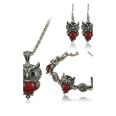 Dames Roestvast staal Turkoois Legering Bruiloft Feest Dagelijks Causaal Oorbellen Kettingen Kostuum juwelen