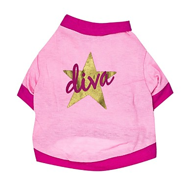 Cat Dog Shirt / T-Shirt Dog Clothes Stars Pink Cotton Costume For Pets