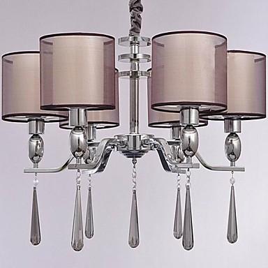 6-Licht Kerzen-Stil Kronleuchter Deckenfluter Chrom Metall Stoff Kristall 110-120V / 220-240V Glühbirne nicht inklusive / E26 / E27