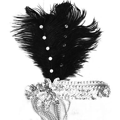 Τεμάχια Κεφαλής Γιορτές/Διακοπές Κοστούμια Halloween Ασημί / Μαύρο Τεμάχια Κεφαλής Απόκριες Γυναικεία Φτερό