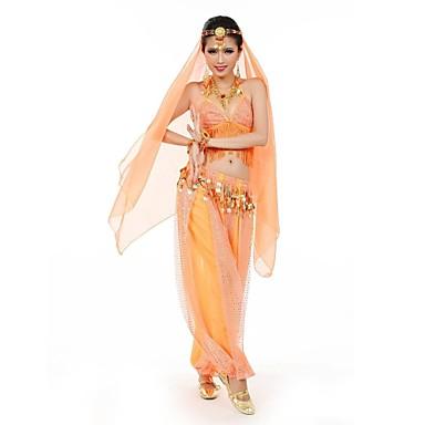 Zullen we buik dansen uitrustingen vrouwen prestatie / training chiffon / polyester munten / kwastje (s) mouwloos natuurlijk 135-142cm