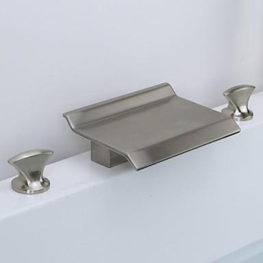 Μπάνιο βρύση νεροχύτη - Καταρράκτης Βουρτσισμένο Νικέλιο Αναμεικτικές με ξεχωριστές βαλβίδες Τρεις Οπές / Δύο λαβές τρεις οπές / Ορείχαλκος