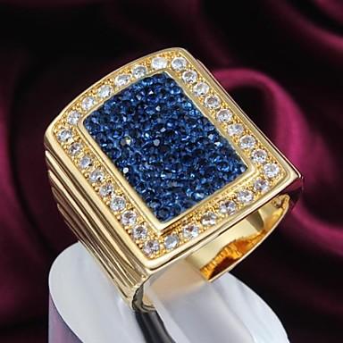 Kadın's Bildiri Yüzüğü Mavi Altın Kaplama Günlük Kostüm takısı