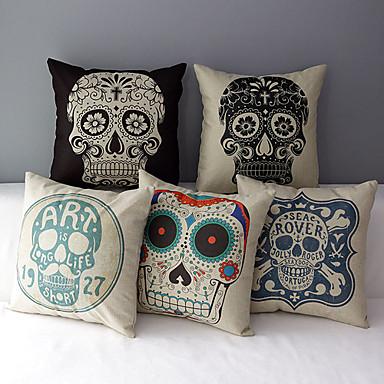 5 pcs Cotton/Linen Pillow Cover,Novelty Retro