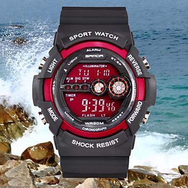 Ανδρικά Ψηφιακό Ρολόι Καρπού Αθλητικό Ρολόι Συναγερμός Ημερολόγιο Ανθεκτικό στο Νερό LCD καουτσούκ Μπάντα Φυλαχτό Μαύρο