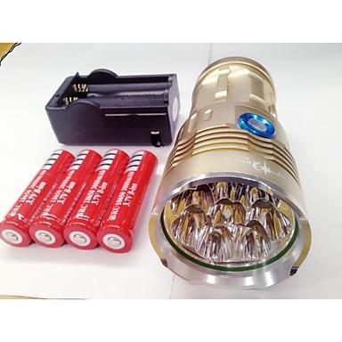 abordables Lampes & Lanternes de Camping-Lampes Torches LED 9600lm LED Cree® XM-L T6 8 Émetteurs 3 Mode d'Eclairage avec Piles et Chargeur Imperméable Rechargeable Vision nocturne Camping / Randonnée / Spéléologie Usage quotidien Police
