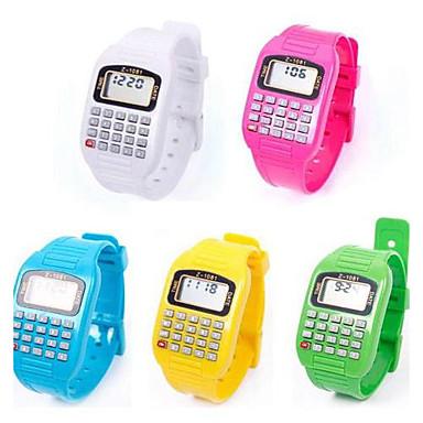 Multi-Purpose Cute Children Silicone Electronic Calculator Wrist Watch (Random Color)