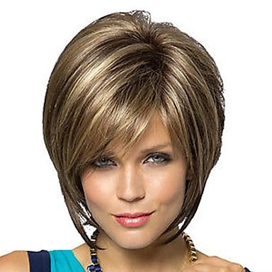 povoljno Perike i ekstenzije-Sintetičke perike Ravan kroj Stil Bob frizura Capless Perika Brown s plavom Sintentička kosa Žene Perika Kratko