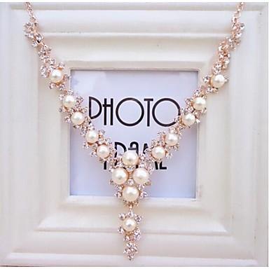viva női koreai divat gyémánt gyöngy nyaklánc