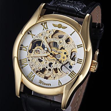 WINNER Αντρικά Διάφανο Ρολόι Αυτόματο κούρδισμα Εσωτερικού Μηχανισμού PU Μπάντα Μαύρο