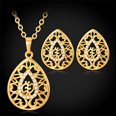 Women's Jewelry Set Synthetic Diamond Wedding Party Daily Casual Sports Rhinestone Gold Plated Imitation Diamond Alloy Earrings Necklaces