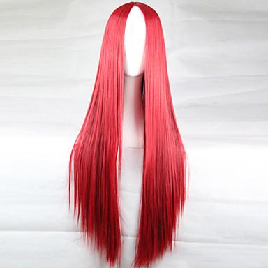 Synthetische Perücken Glatt Asymmetrischer Haarschnitt Synthetische Haare 28 Zoll Natürlicher Haaransatz Rot Perücke Damen Lang Kappenlos Rot