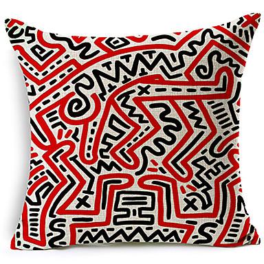 Modern stil soyut sembol desenli pamuk / keten dekoratif yastık kılıfı
