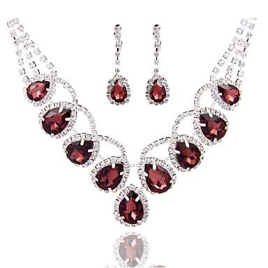Γυναικεία Στρας / Μαργαριταρένια Κοσμήματα Σετ - Άλλα Ασημί, Βαθυγάλαζο, Μπορντώ