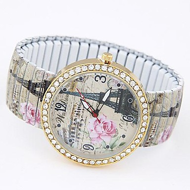 Dames Armbandhorloge Modieus horloge Vrijetijdshorloge Kwarts Vrijetijdshorloge Legering Band Eiffeltoren Meerkleurig