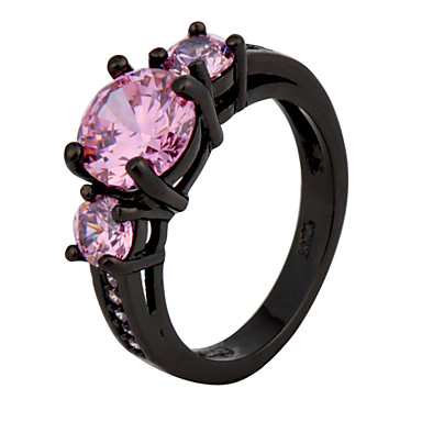 Black Gold Filled Ring Pink Sapphire Lady's 10KT Finger Rings For Women Anel Feminino Fashion Jewelry