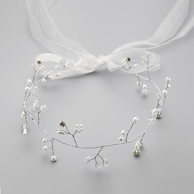 Imitation Pearl Rhinestone Satin Alloy Flowers Head Chain Headpiece