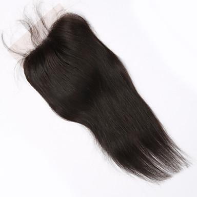 baratos Fechamento & Frontal-PANSY Trama Extensões de cabelo humano Liso Cabelo Humano Pedaço de cabelo Cabelo Brasileiro Marrom Mulheres