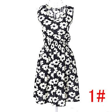 b5cf9c6e32dd 25 slags! nye mærke 2015 sommer kvinder afslappet print kjole mode chiffon  ærmeløs elastisk talje part kjoler gratis skib bk016 2789383 2019 –  5.99