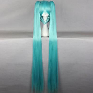 Syntetiske parykker Rett Asymmetrisk frisyre Syntetisk hår Naturlig hårlinje Blå Parykk Dame Lang Cosplay-parykk / Karneval Parykk Lokkløs