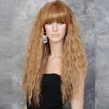 Women Synthetic Wig Long Golden Flaxen Costume Wigs Halloween Wig Carnival Wig Costume Wigs