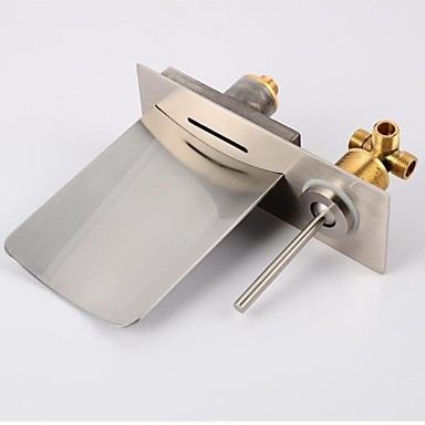 Contemporary Nickel Brushed Waterfall  Wall-mounted Bathroom Tub Faucet