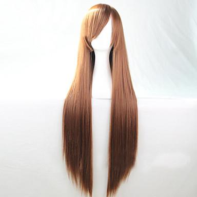 여성 인조 합성 가발 긴 스트레이트 브라운 코스튬 가발