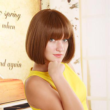 European And American Fashion Face Short Brown Hair Wig Repair