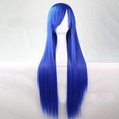 Synthetische Perücken Damen Glatt Blau Asymmetrischer Haarschnitt Synthetische Haare 28 Zoll Natürlicher Haaransatz Blau Perücke Lang Kappenlos Hellblau