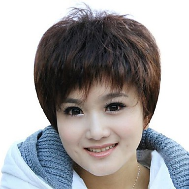 Foreign Trade Old Wig Sell Like Hot Cakes Dark Brown Short Hair Wig