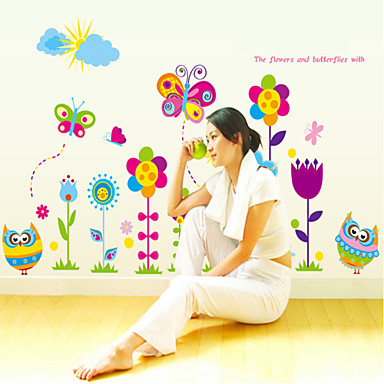 Мультипликация Цветы Наклейки Простые наклейки Декоративные наклейки на стены материал Влажная чистка Съемная Украшение домаНаклейка на