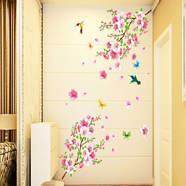 Florals Cartoon Wall Stickers Plane Wall Stickers Decorative Wall Stickers, PVC Home Decoration Wall Decal Wall