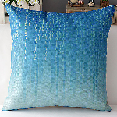Modern Style Blue Digital Numbers Patterned Cotton/Linen Decorative Pillow Cover