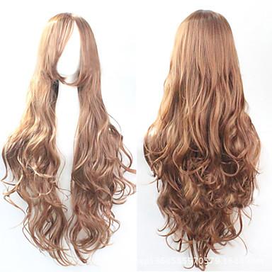 Synthetische Perücken Locken Asymmetrischer Haarschnitt Synthetische Haare Natürlicher Haaransatz Braun Perücke Damen Lang Kappenlos