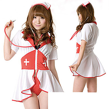Cosplay Costumes Uniforms Festival/Holiday Halloween Costumes Red / White Patchwork Dress / Headpiece Halloween / Carnival Female Cotton