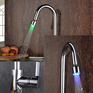 Contemporary Pull-out/Pull-down Deck Mounted LED Ceramic Valve One Hole Single Handle One Hole Chrome , Kitchen faucet