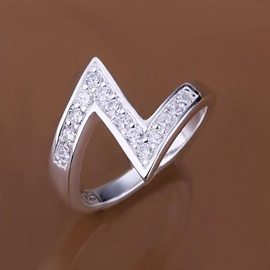 Damen Statement-Ring - Sterling Silber, Zirkon, Kubikzirkonia Luxus 7 / 8 Für Hochzeit Party Alltag / Diamantimitate / Strass